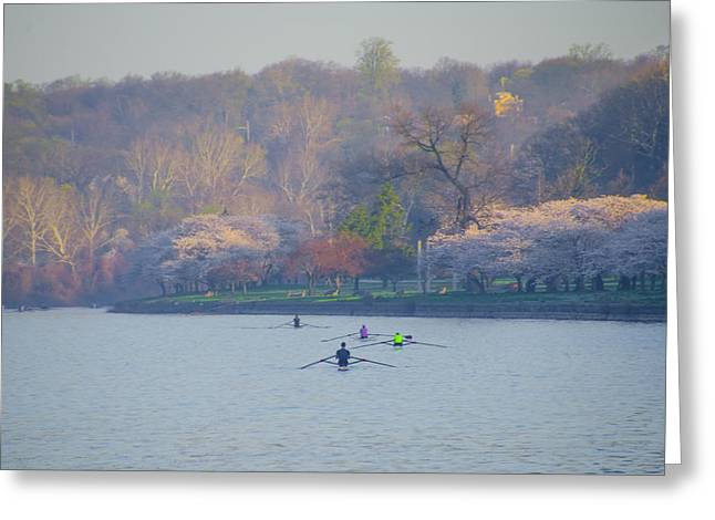 Rowing Crew Digital Art Greeting Cards - Rowing in Spring - Philadelphia Greeting Card by Bill Cannon