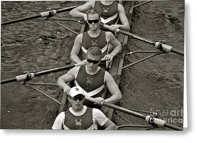 Rowing At The Regatta Greeting Card by Jason Freedman