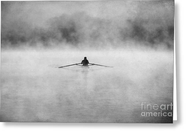 Action Photo Greeting Cards - Rowing on the Chattahoochee Greeting Card by Darren Fisher