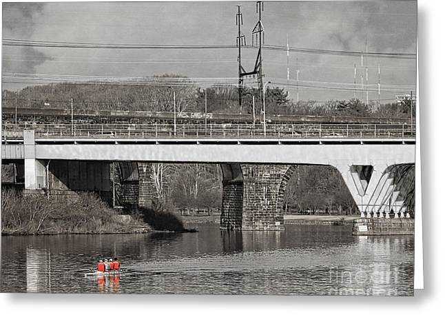 Rowing On The River Greeting Card by Tom Gari Gallery-Three-Photography