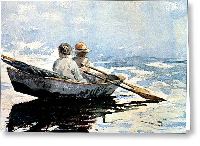 Rowing The Boat Greeting Card by Winslow Homer