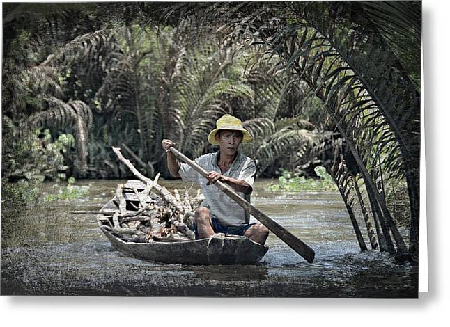 Canoe Greeting Cards - Rowing the Mekong Greeting Card by Toni Abdnour
