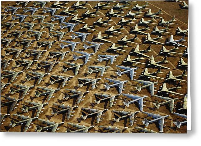 Airfield Greeting Cards - Rows Of B-52s Tucson Az Greeting Card by Panoramic Images