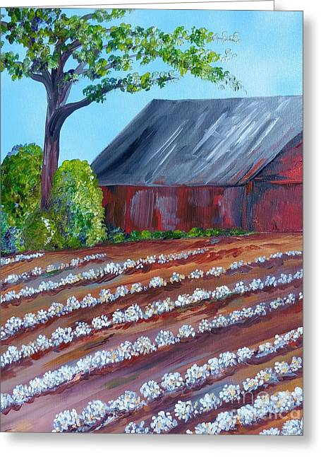 Rows Of Cotton Greeting Card by Eloise Schneider