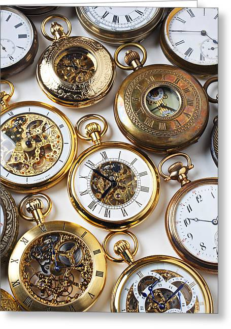 Gadget Greeting Cards - Rows Of Pocket Watches Greeting Card by Garry Gay