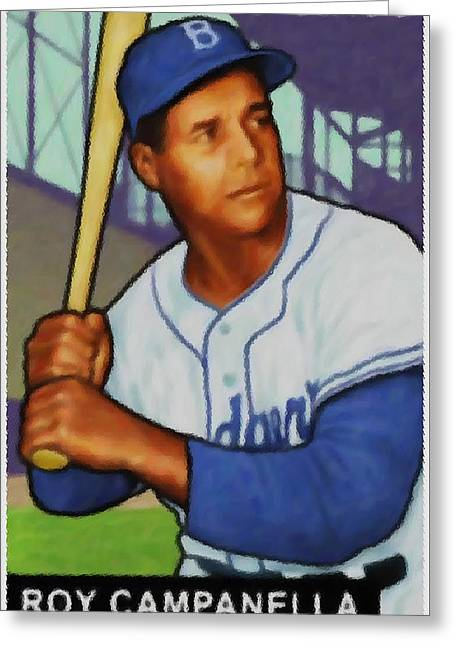 Baseball Uniform Paintings Greeting Cards - Roy Campanella Greeting Card by Lanjee Chee