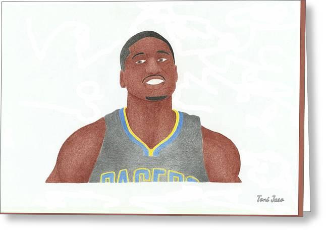 Slam Drawings Greeting Cards - Roy Hibbert  Greeting Card by Toni Jaso