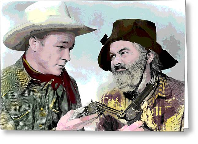 Sidekick Greeting Cards - Roy Rogers and Gabby Hayes Greeting Card by Charles Shoup