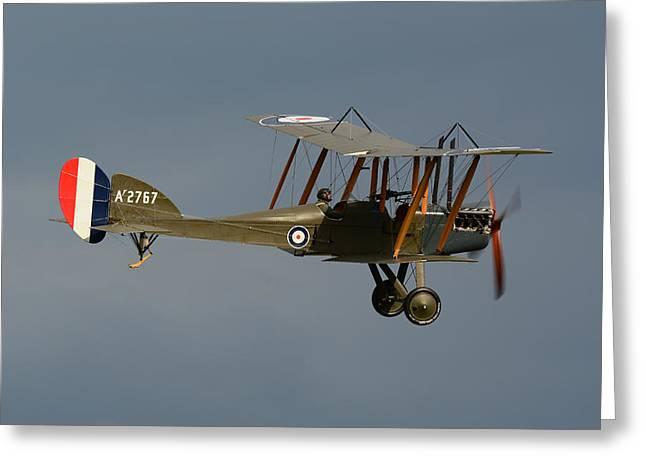 Lewis Gun Greeting Cards - Royal Aircraft Factory B.E.2c Greeting Card by Cliff Johnson - Delta Photo Design