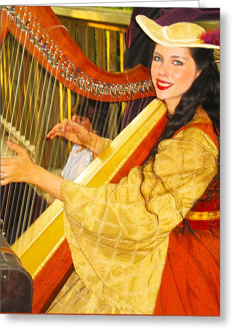 Player Greeting Cards - Royal Angelic Harpist  Greeting Card by ARTography by Pamela  Smale Williams