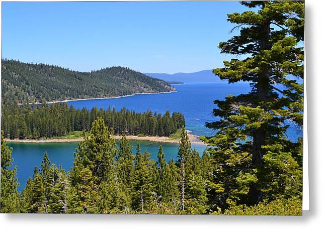 California Tourist Spots Greeting Cards - Royal Blue Lake Tahoe Vista Greeting Card by Cherie Cokeley