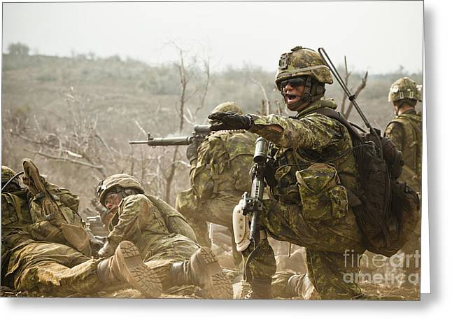Battleground Greeting Cards - Royal Canadian Army Officer Directs Greeting Card by Stocktrek Images
