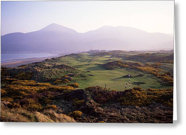 Scenic Golf Courses Photographs Greeting Cards - Royal Co. Down Golf Course Overlooked Greeting Card by Chris Hill