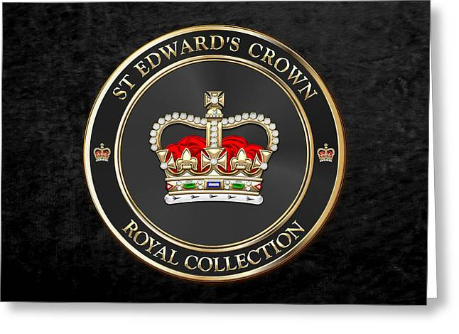 Royal Collection - St Edward's Crown Over Black Velvet Greeting Card by Serge Averbukh