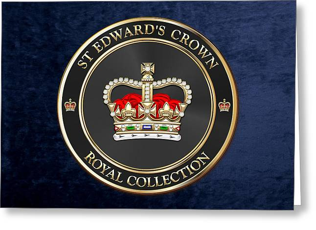 Royal Collection - St Edward's Crown Over Blue Velvet Greeting Card by Serge Averbukh
