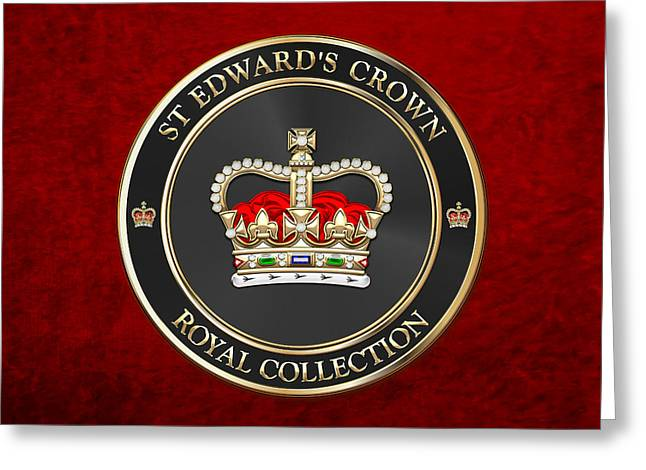 Royal Collection - St Edward's Crown Over Red Velvet Greeting Card by Serge Averbukh