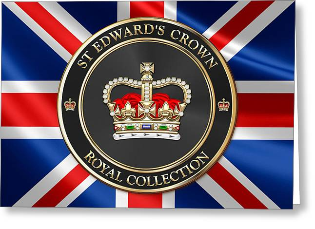 Royal Collection - St Edward's Crown Over Uk Flag  Greeting Card by Serge Averbukh