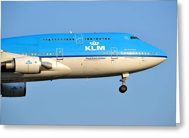Klm Greeting Cards - Royal Dutch Airlines KLM 747-400 Greeting Card by Carson McGinness