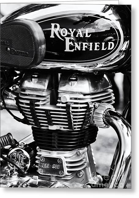 Gas Tank Greeting Cards - Royal Enfield Bullet 500 Monochrome Greeting Card by Tim Gainey