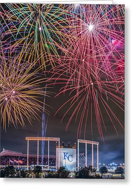 Royal Fireworks Greeting Card by Ryan Heffron
