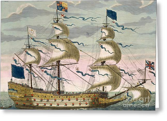 Water Vessels Greeting Cards - Royal flagship of the English fleet Greeting Card by Pierre Mortier