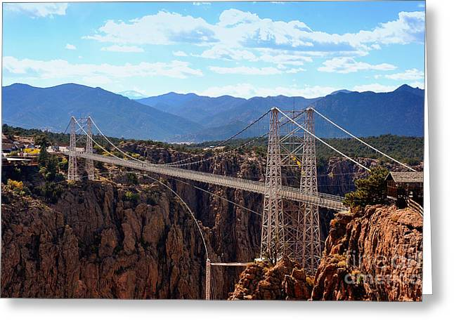 Royal Gorge Greeting Cards - Royal Gorge Suspension Bridge - Canyon City Colorado Greeting Card by E S R Photography