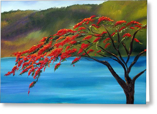 Gallery Wrap Paintings Greeting Cards - Royal Poinciana Resort H Greeting Card by Maria Soto Robbins