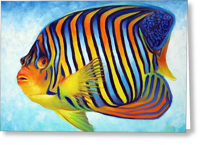 Snorkel Greeting Cards - Royal Queen Angelfish Greeting Card by Nancy Tilles