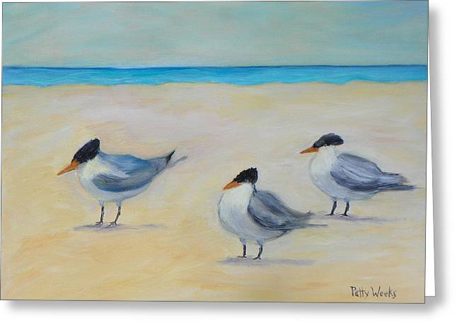 Tern Paintings Greeting Cards - Royal Terns on St. Augustine Beach Greeting Card by Patty Weeks