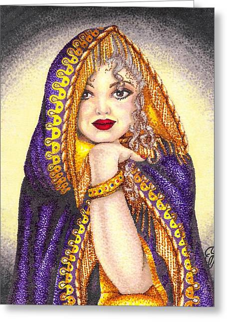Gold Tassels Drawings Greeting Cards - Royal Thoughts Greeting Card by Scarlett Royal