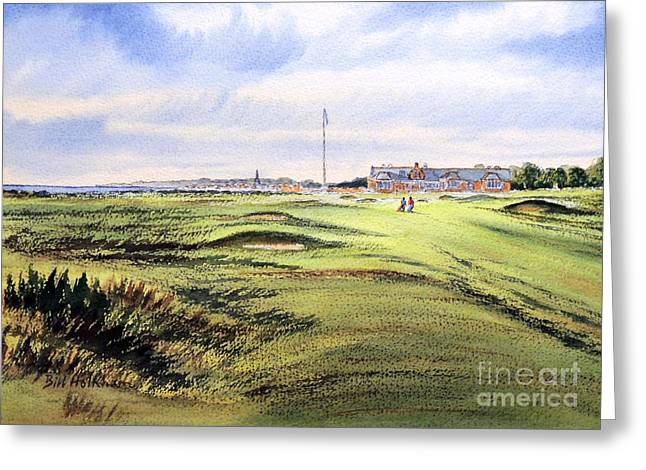 Linked Paintings Greeting Cards - Royal Troon Golf Course Greeting Card by Bill Holkham