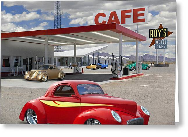 Willys Greeting Cards - Roys Gas Station - Route 66 2 Greeting Card by Mike McGlothlen