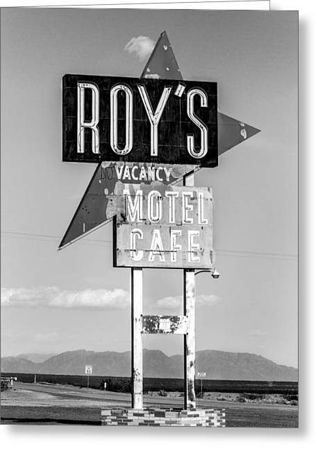 Abandond Greeting Cards - Roys Motel and Cafe bw Greeting Card by Denise Dube