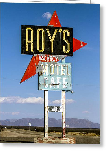 Abandond Greeting Cards - Roys Motel ande Cafe Greeting Card by Denise Dube