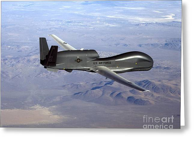 Air Craft Greeting Cards - Rq-4 Global Hawk Greeting Card by Photo Researchers