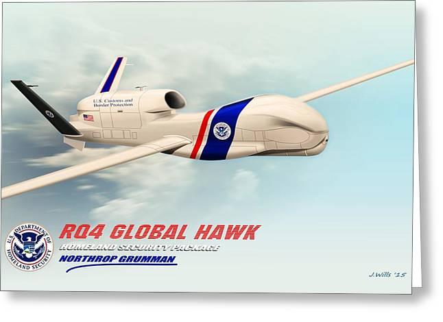 Global Hawk Greeting Cards - Rq4 Global Hawk Drone United States Greeting Card by John Wills