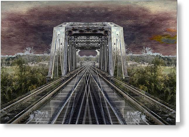 Covered Bridge Greeting Cards - RR Bridge Textured Composite Greeting Card by Thomas Woolworth