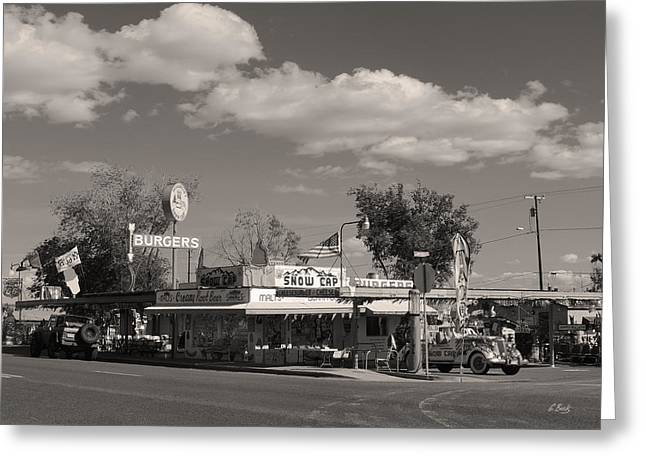 Snow Capped Greeting Cards - Rt. 66 Snow Cap Drive-in Monochrome Greeting Card by Gordon Beck