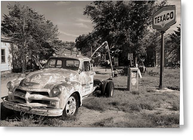 Texaco Sign Greeting Cards - Rt 66 Towing Monochrome Greeting Card by Gordon Beck