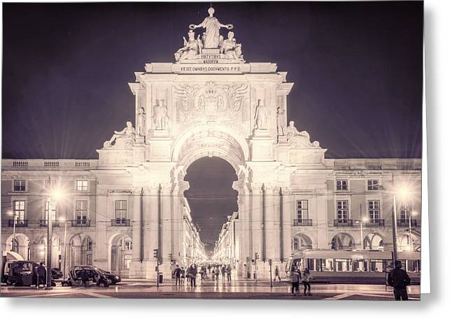 Greeting Cards - Rua Agusta Arch Lisbon Textured III Greeting Card by Joan Carroll