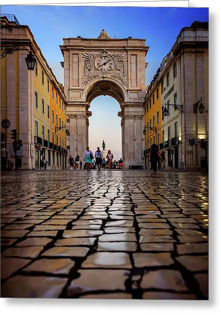 Rua Augusta Arch Lisbon Greeting Card by Carol Japp