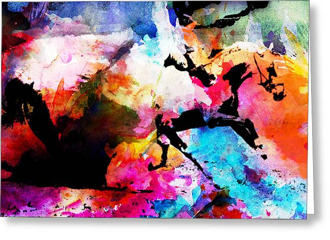 Race Horse Greeting Cards - Ruan away Greeting Card by Isabel Salvador