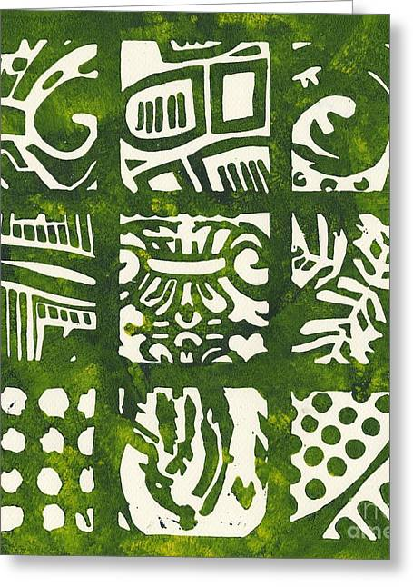 Linocut Mixed Media Greeting Cards - Rubbing Patterns Linocut Greeting Card by Kayla Race