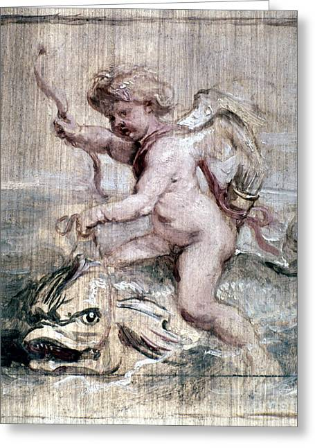 Rubens: Cupid On Dolphin Greeting Card by Granger