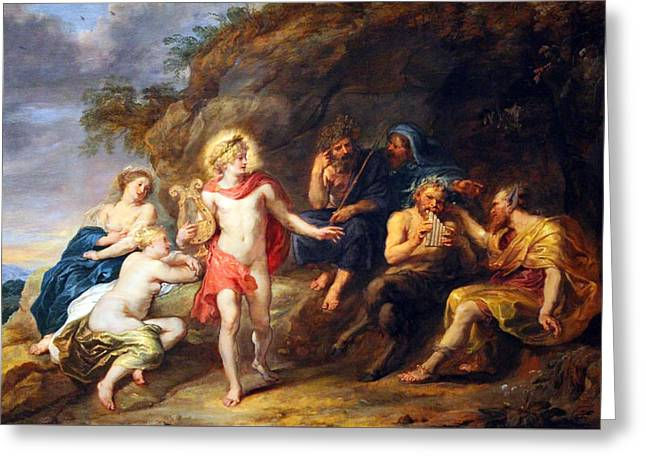 Peter Paul (1577-1640) Greeting Cards - Rubens Judgment Of Midas Greeting Card by Cora Wandel