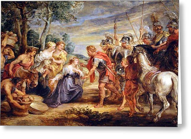 Peter Paul (1577-1640) Greeting Cards - Rubens The Meeting Of David And Abigail Greeting Card by Cora Wandel