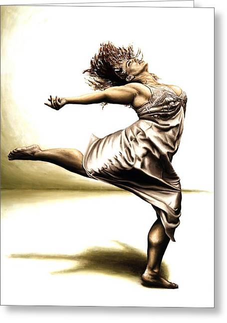 Figures Paintings Greeting Cards - Rubinesque Dancer Greeting Card by Richard Young