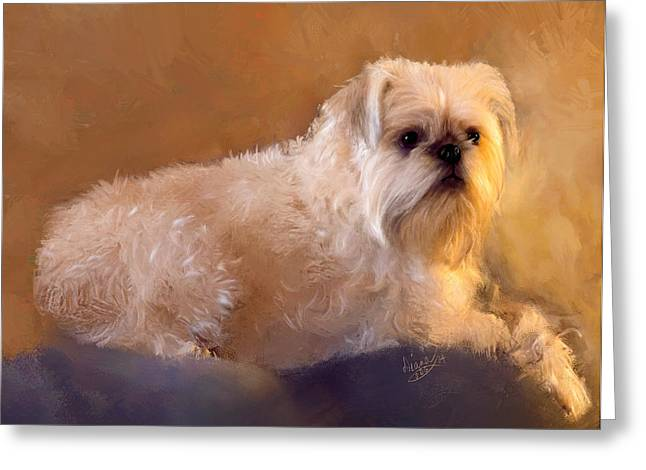 Puppies Mixed Media Greeting Cards - Ruby Greeting Card by Diana Ralph