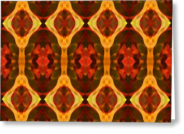 Ruby Glow Pattern Greeting Card by Amy Vangsgard