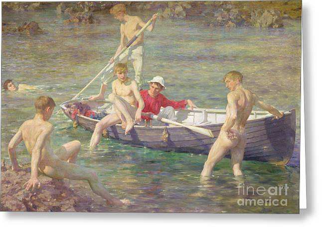 Dinghy Greeting Cards - Ruby Gold and Malachite Greeting Card by Henry Scott Tuke